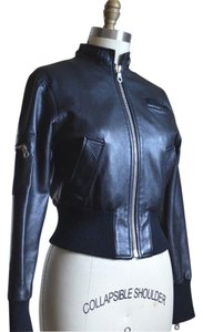 Members Only Biker Bomber BLACK Leather Jacket