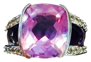Sterling Silver & Amethyst Ring Size-9 W/Side Stones