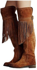 Free People Fringed Tan Boots