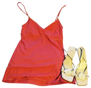 Abercrombie & Fitch Top coral with silver