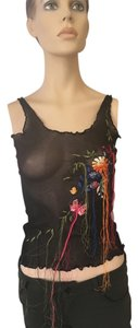 Jean-Paul Gaultier Embroidered Top black w/multicolor