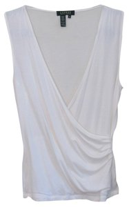 Ralph Lauren Sleeveless Fitted V-neck Stretchy Knit Top White