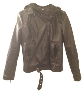 Brooklyn Industries Vegan Moto Hooded Leather Jacket