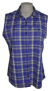 Cabela's Cobble Creek Plaid Sleeveless Resort Casual Button Down Shirt Purple