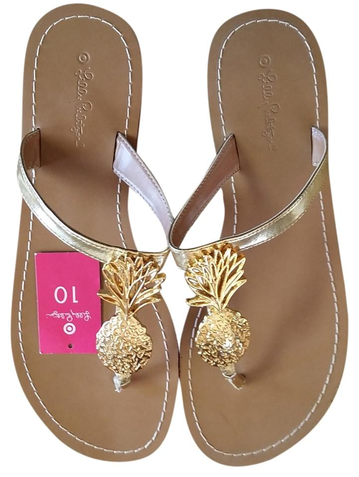 da5a4e7ccea3 Lilly Pulitzer Gold Pineapple   Target Sandals Size US 10 Regular (M ...