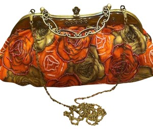 Art Deco Metal Framed Floral, Multi Clutch