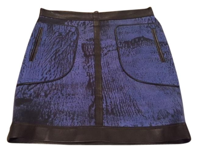 Item - Blue with Leather Trim Navy Detail Modern Skirt Size 6 (S, 28)