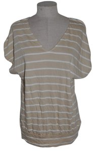 Express Breton Striped Crochet Lace Cut-out Dolman Sleeve Resort T Shirt Beige & Ivory