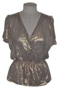 Moda International Victoria's Secret Animal Print Sheer Surplice Peplum Top Metallic Gold