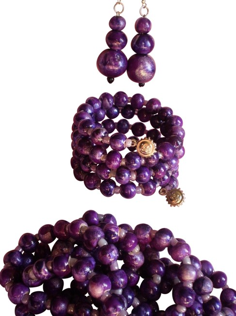 Purple Endless Bracelet and Earrings Necklace Purple Endless Bracelet and Earrings Necklace Image 1