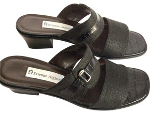 Etienne Aigner Leather Linen Black Sandals