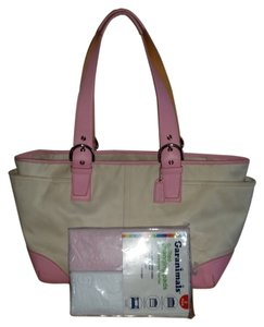 Coach Soho Large Changing Pads Zip Top Multi Pockets pink/white Diaper Bag