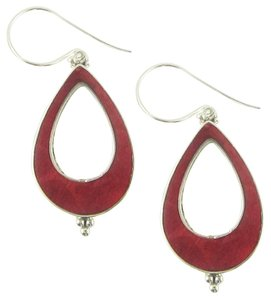 Island Silversmith Island Silversmith Upscale Genuine Red Coral 925 Sterling Silver Drop Earrings 0701K *FREE SHIPPING*