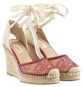 Valentino Wedge Lace Wedge Red Wedges