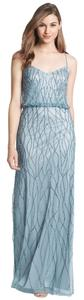 Adrianna Papell Blue Beaded Gown Dress