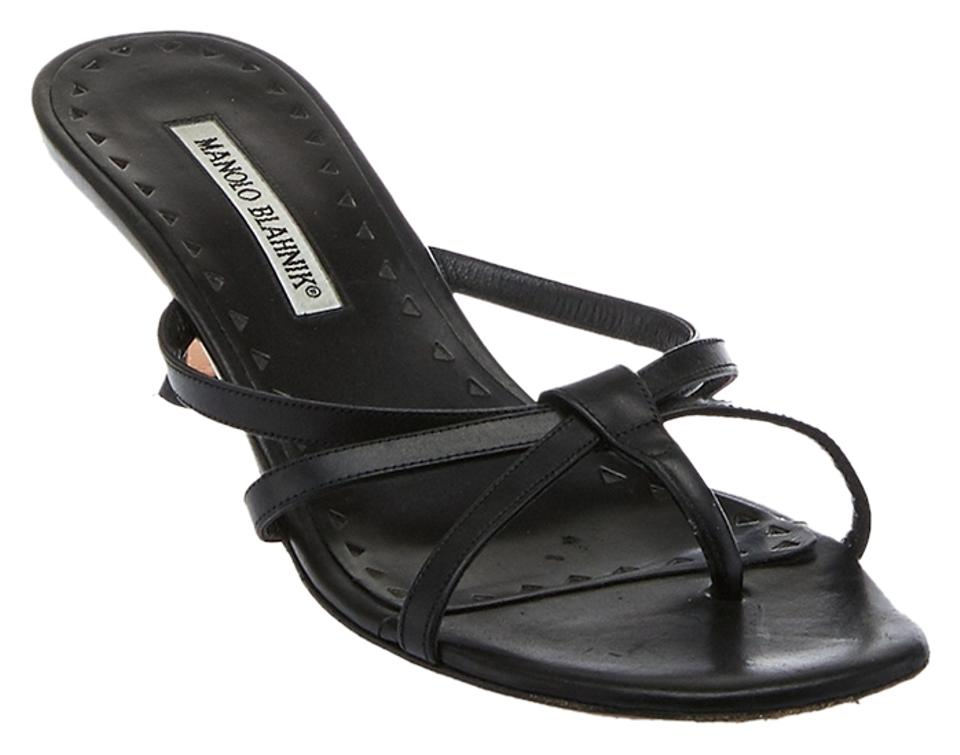Manolo Blahnik Black Women's Leather Pumps Thong Slide Heels (17539) Pumps Leather e47eb3