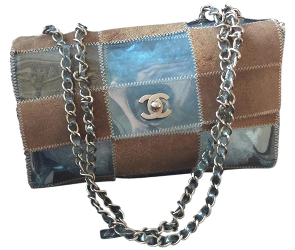 fd13b812a890 Chanel Rare W Code Cc Logo Silver Jelly Plastic Beach Transparent Clear Flap  Chain Suede Green  Brown Cross Body Bag