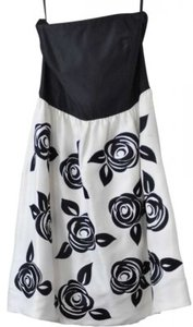 White House | Black Market Silk Embroidery Strapless Dress