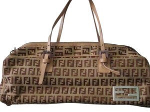 Fendi Vintage Log Shaped Satchel in Camel & tan