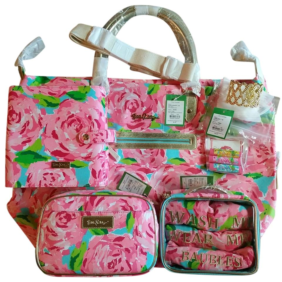 Lilly Pulitzer Complete Set Hotty Pink Travel Bag