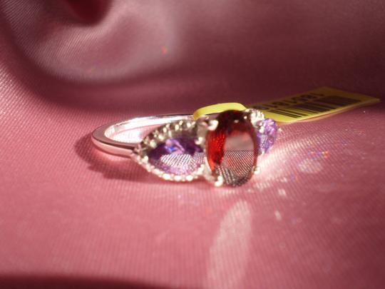 Other Mozambique Garnet (Ovl 1.75 Ct), Simulated Purple Sapphires in Sterling Silver Nickel Free (Size 7)