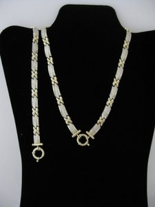 14 Kt Yellow and White Gold Necklace Bracelet Jewelry Set