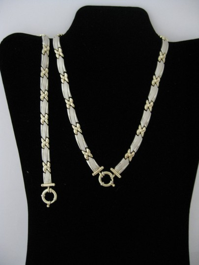 Solid 14 Karat Two-tone White and Yellow Gold Necklace and Bracelet Made In Italy Jewelry Set