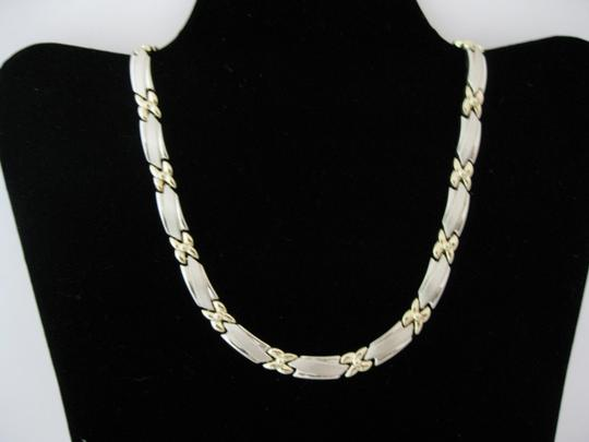 Solid 14 Karat Two-tone White And Yellow Gold Necklace And Bracelet Set. Made In Italy