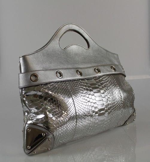 Gucci Platinum Python Leather Tote in Silver