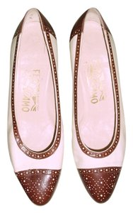 Salvatore Ferragamo white and medium brown Flats