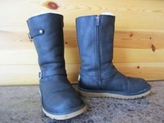 UGG Australia Leather Winter Motorcycle Riding Dress Youth 7.0 7.5 Black Boots