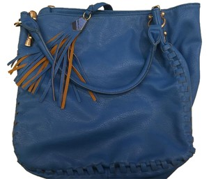 Big Buddha Zipper Braided Metallic Hardware Tote in Blue