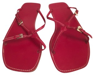 Prada Leather Vintage Roman Style Made In Italy Red Sandals