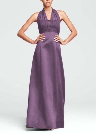 David's Bridal Wisteria Polyester Satin Empire Ball Gown with Illusion Halter Style 81411 Traditional Bridesmaid/Mob Dress Size 8 (M)