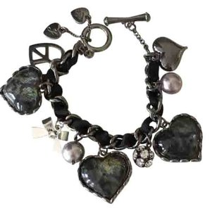Betsey Johnson Black and Silver Betsey Johnson Heart Charm Bracelet