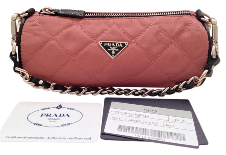 64ddc293f89e Prada Tessuto Quilted Nylon Small Barrel Rose/Pink/Coral Baguette ...