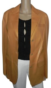 Michael Kors MICHAEL KORS THREE BUTTONS PEANUT LEATHER JACKET