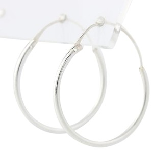 Hoop Earrings - Sterling Silver 925 Tube Closure 1 Polished Finish Pierced
