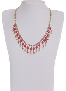 Pink & Gold Color Peot Beads Necklace in Goldtone