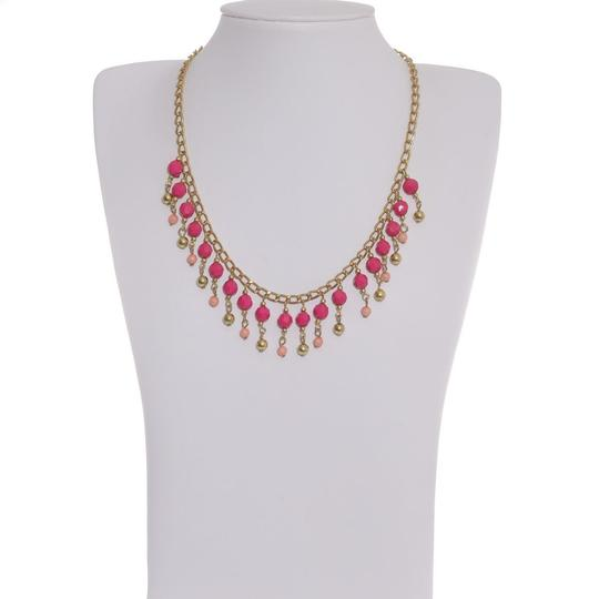Other Pink & Gold Color Peot Beads Necklace in Goldtone