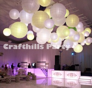 30 Mix Size Paper Lanterns With Led Lights - White Chinese Round For Wedding Floral Centerpiece Party Decoration