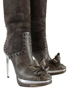 Roberto Cavalli Gray Platinum Knee High Suede Bow Leather Silver Boots