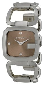Gucci Brown Dial with Diamond Markers Silver tone Bangle Bracelet Designer Dress Watch