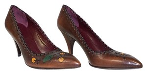 Prada Leather Point Toe Brown Pumps