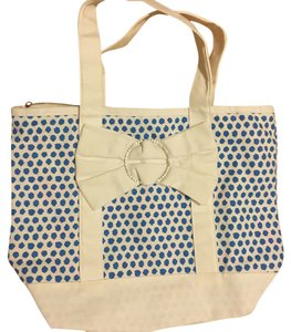 Julie Brown Tote in White, Blue