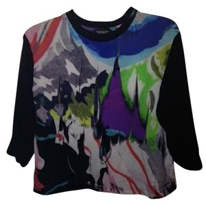 Topshop Graphic Abstract Jersey Top Multi