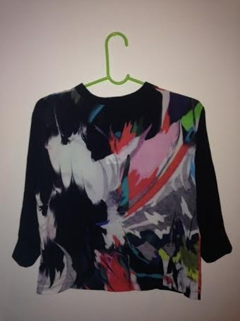 Topshop Graphic Abstract Jersey 3/4 Sleeve Top Multi