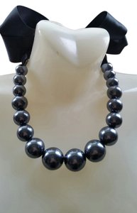 Chic & Pretty Black Beaded necklace with Ribbon tie closure