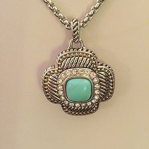 Other Designer Inspired Silverplated Necklace W Faux Turquoise Rhinestone Accent