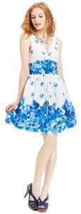 Betsey Johnson short dress Blue and White Floral Size 12 on Tradesy
